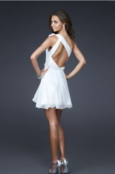 $89.99 Cheap White Homecoming Dresses Short/Mini Sexy back design