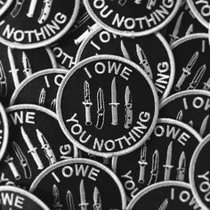 """shop-destruya: """"I Owe You Nothing"""" Embroidered Patches Maeve Character inspiration Bellatrix Lestrange, Slytherin, Moira Burton, Daniela Rivera, Blue Sargent, The Knowing, Piper Mclean, Jessica Jones, Pin And Patches"""