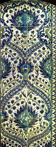 (glazed tile panel, Syria, 17th century)