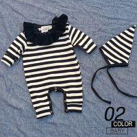 ベビーボーダーロンパース帽子つけ襟3点セット出産祝い赤ちゃんカバーオールベビー服60cm70cm80cmロンパース韓国子供服