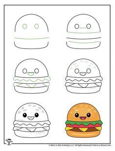 Cute Drawings For Kids, Easy Doodles Drawings, Cute Food Drawings, Mini Drawings, Cute Kawaii Drawings, Drawing Lessons For Kids, Food Drawing Easy, Easy Cartoon Drawings, Drawing Tutorials For Kids