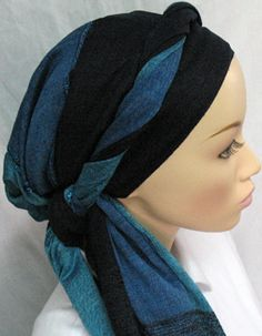 Unison - Navy blue with roped fringes. From ModestWorld.com. Also available in Coral and Black.
