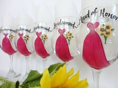 PERSONALIZED TO YOUR DRESSES Hand Painted  Bridal Glasses by SAM Designs, $20.00