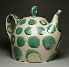 Jana Evens. teapot with green spots