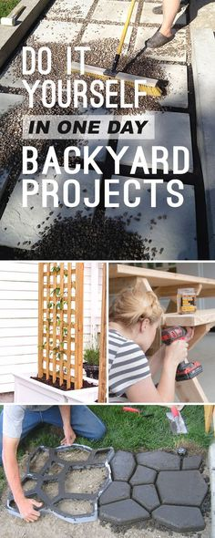 One Day Backyard Ideas & DIY Projects! Tons of DIY backyard ideas and DIY projects that you can do in one day! Pathways stepping stones trellis DIY tables and more! One Day Backyard Ide Diy Garden Projects, Outdoor Projects, Outdoor Decor, Outdoor Ideas, Patio Ideas, Diy Backyard Ideas, Fun Diy Projects For Home, Project Ideas, Outdoor Living