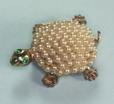Glass Pearl Turtle Pin Green Rhinestone Eyes by PastSplendors, $20.00