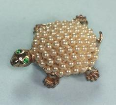 Glass Pearl Turtle Pin Green Rhinestone Eyes by PastSplendors, $24.00