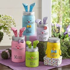 You'll be amazed how quickly these adorable little figurines will put everyone in the Easter spirit! Easter gifts Little Bunny Family Figurines Kids Crafts, Easter Crafts, Diy And Crafts, July Crafts, Easter Gift, Decor Crafts, Happy Easter, Mason Jar Projects, Mason Jar Crafts