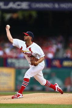 Starting pitcher Adam Wainwright pitches against the Padres in the first. Cards won the game 7-6.  8-17-14