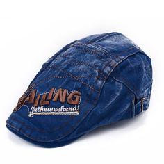 Mens Vintage Beret Hat SAILING Embroidery Washed Cotton Paper Boy Cap