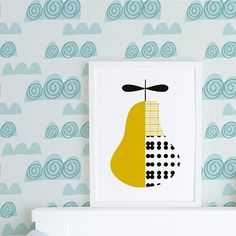 This modern nursery art print of a pear is a beautiful mustard colour with black spots. The print is perfectly placed in a modern nursery or as a modern art print in the home or office. It has been illustrated and digitally coloured by me. The print also looks fantastic as a set with