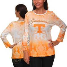 Tennessee Volunteers Ladies Three-Quarter Sleeve Dip Dye T-Shirt - Tennessee Orange/White....  I love this!