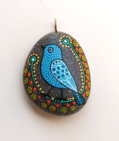 Hand+Painted+Stone+Bird+Pendant+by+ISassiDellAdriatico+on+Etsy,+€20.00 #Stone Art