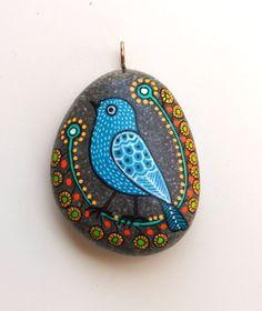 Hand+Painted+Stone+Bird+Pendant+by+ISassiDellAdriatico+on+Etsy,+€20.00