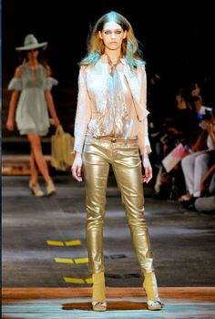 Gold leather spotted on the runway