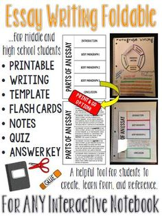 These essay writing foldables are a perfect addition to an existing interactive notebook, or perhaps the start of a new one. #ELA #MiddleSchool #HighSchool #InteractiveNotebook