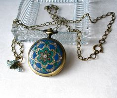 Teal Blue &  Emerald Mandala Pocket Watch by theDeerCreekHouse