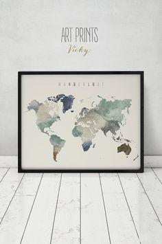 Fernweh, Aquarell Druck, Welt-Karte-Poster, große Weltkarte Welt Karte, Reise Landkarte Aquarell, Home Decor, Kunstdrucke ArtPrintsVicky