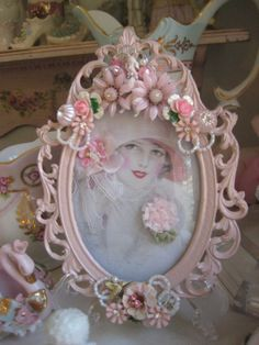 silver frame painted pink and embellished