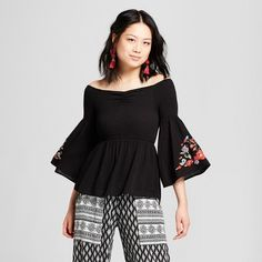 28ef360d11859 Women s Off the Shoulder Bell Sleeve Embroidered Top - Almost Famous ( Juniors ) Black   Target