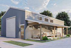 Pole Barn Shop, Pole Barn Garage, Pole Barn Kits, Rv Garage, Boat Garage, Garage House, House Front, Metal Barn Homes, Pole Barn Homes