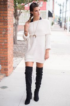 Cream Fold Over Ribbed Sweater