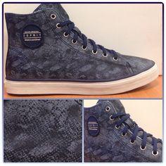 Esprit blauwe hoge dames sneakers met snake print