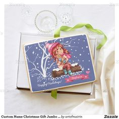 Happy Holidays. Snow Scene with a little girl and kitty fun Christmas Gift Jumbo Sugar Cookies for kids with a personalized kid's name. Matching cards, postage stamps and other products available in the Christmas & New Year Category of the artofmairin store at zazzle.com.
