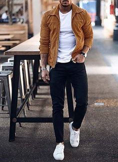 Let our stylist at Giorgenti New York hell you put together this fall look! Copper bomber jacket with a white T-shirt, black jeans and white sneakers. Mens Fall Outfits, Stylish Mens Outfits, Casual Outfits, Stylish Clothes For Men, Cool Outfits For Men, Men Clothes, Black Jeans Men, Black Shirt Outfit Men, Fashion Mode