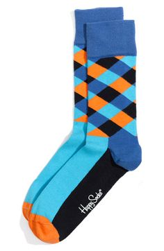 Fun Socks for the gents! By Happy Socks Funky Socks, Crazy Socks, Colorful Socks, My Socks, Socks Men, Fun Dress Socks, Dress Shoes, Stylish Mens Fashion, Men's Fashion