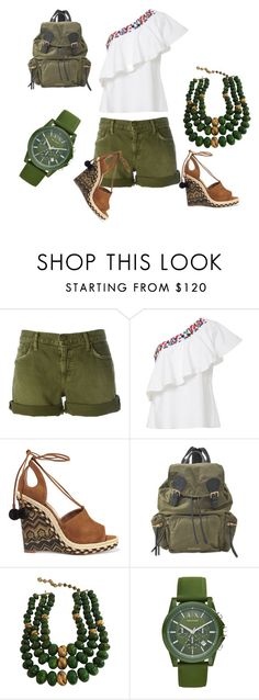 """Military green"" by thefashionfunda ❤ liked on Polyvore featuring Current/Elliott, Saloni, Aquazzura, Burberry, Castlecliff, Armani Exchange and thefashionfunda"