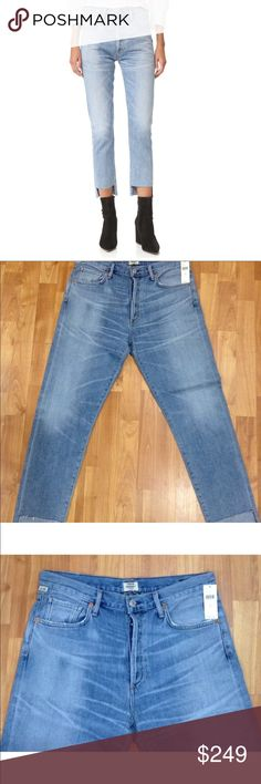 """NWT COH LIYA HI LO HEM JEANS HORIZON 29 $298 Citizens of Humanity """"Premium Vintage"""" Jeans   New With Tags from Anthropologie $268 Liya  Hi-Lo Hem  Classic Fit  Cut Hem   Button Fly  High Rise  Stretch  Soft! Light Wash with Factory Whiskers & Distress   Size 29    Inseam 28"""" Waistband 34""""  Hips 43""""  Rise 11""""  Leg Opening 6"""" Across 77% Cotton    23% Rayon USA Citizens Of Humanity Jeans"""