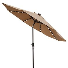 Sundale Outdoor Solar Powered 32 LED Lighted Outdoor Patio Umbrella with Crank and Tilt, 9 Feet >  Descriptions: This 9ft solar LED patio umbrella can not only provide plenty of shade keeping you cool on hot summer days but also create romantic atmosphere in the evening with its 32 built-...