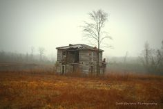 """""""Alone"""" Battered by the elements and forsaken by her owners, this Virginia homestead sits in an open field enveloped in an early morning fog. (2014)  For more photos please check out my page at Scott Garlock Photography https://www.facebook.com/scottgarlockabandoned and if you like what you see, I sure would appreciate a good old fashioned """"Page Like"""" Thank you - Scott"""