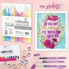 Prima Marketing Watercolor coloring book by CrazyCraftyCreators Prima Watercolor, Watercolor Brushes, Watercolor Ideas, Frame It, Diy Frame, Arts And Crafts, Paper Crafts, Diy Crafts, Adult Coloring