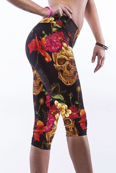 2015 Hot Selling Sexy Fashion Multicolor Flowers Skull Print Stretch Pants LC79732 Womens Running Pants Super Stretch Sportswear