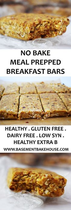 These Healthy No Bake Meal Prep Breakfast Bars are the perfect way to start the day! Gluten Free, Dairy Free, Vegan and Slimming World friendly. Use as your Healthy Extra B plus syns on Slimming World - Basement Bakehouse paleo breakfast meal prep Breakfast Bars Healthy, Slimming World Breakfast, Slimming World Meals, Slimming World Flapjack, Healthy Oat Bars, Meal Prep Breakfast, Baked Oats Slimming World, Carb Free Breakfast, Slimming World Biscuits