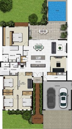 Floor Plan Friday: Kids retreat, study and pool - Reconfigure media into office/den/craft room, but overall beautiful layout. Sims House Plans, Basement House Plans, House Layout Plans, House Plans One Story, Floor Plan Layout, Dream House Plans, Floor Plan Of House, Floor Plans For Houses, Modern House Floor Plans