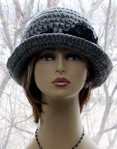 Womens Crochet Hat Flapper Brim Hat Chunky Hat winter bow