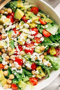 A simple Balsamic Chickpea Avocado Feta Salad full of Summery vibrant colours and flavours. Ready in under 5 minutes as a side or main! Super Healthy Recipes, Healthy Foods To Eat, Healthy Dinner Recipes, Healthy Eating, Cooking Recipes, Healthy Salads, Clean Eating, Happy Healthy, Easy Salads