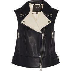 Belstaff Hanke leather vest ($768) ❤ liked on Polyvore featuring outerwear, vests, black, black waistcoat, black leather vest, black vest, vest waistcoat and genuine leather vest