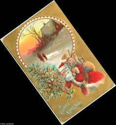 C269 SANTA HAS FEATHER TREE & BAG FILLED W/GIFTS HOME BEHIND GOLD 1910 POSTCARD #Christmas