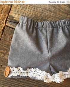Pre Spring Sale Girls Ruffle Shorts , Baby Girl Ruffle Shorts , Girls Chambray Shorts - Sizes 0/3 - 7/8 by ShopKinsleesCloset on Etsy https://www.etsy.com/listing/268103167/pre-spring-sale-girls-ruffle-shorts-baby
