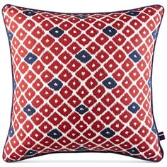 "Tommy Hilfiger Ellis Island Diamond 18"" Square Decorative Pillow featuring polyvore home home decor throw pillows red throw pillows square throw pillows embroidered throw pillows navy blue throw pillows navy blue accent pillows"