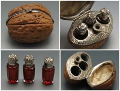 19th century French hinged walnut case with scent bottles & funnel