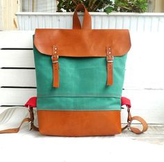 Ottobags Green Waxed Canvas  Backpack  with Adjustable Leather Strap / School / Travel / Rucksack / Laptop Bag