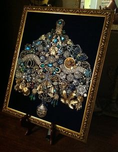 Framed Vintage Jewelry Art Victorian Angel Christmas Tree of Life | eBay