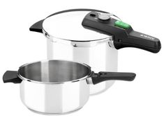 Monix Quick Set Duo of Pots Pressure 4 and Steel Stainless Stainless Steel Pressure Cooker, Stainless Steel Kitchen, Induction Cookware, Pots And Pans Sets, O Gas, Dishwasher Detergent, Pan Set, Soft Towels, Cookware Set