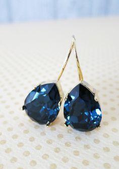 Simple Swarovski Crystal Teardrop Earrings, Montana Blue Crystal Earrings, Gold plated, brides bridesmaid bridal simple earrings, www.glitzandlove.com