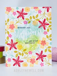 Birthday Happiness Card by Ashley Cannon Newell for Papertrey Ink (May 2015)